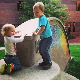 Benjamin & Ella exploring UM-Flint's campus