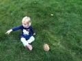 Ella with Wedge in the backyard